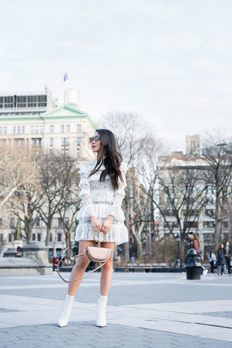 wendy's lookbook blogger dress shoes bag sunglasses jewels white lace dress boots ankle boots white boots