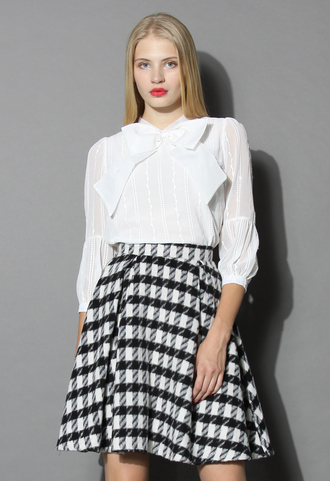 top festive bowknot chiffon white top chicwish white