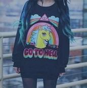 sweater,go to hell,unicorn sweater,unicorn,go to hell unicorn,kawaii,grunge,pastel goth