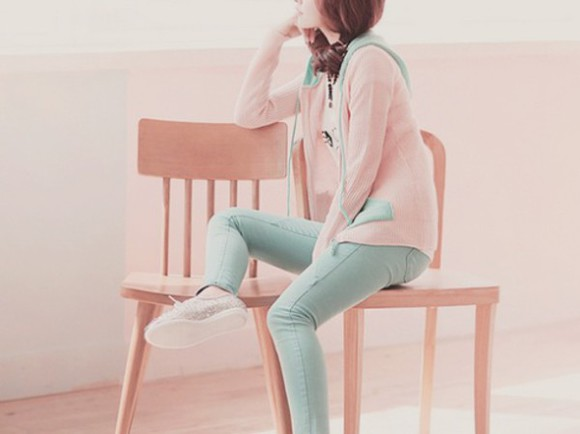 pale kawaii pastel pink jacket asian fashion girly girl shirts mint