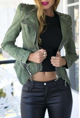 jacket olive green khai zip zip up jacket