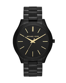 Michael Kors Mid-Size Black Stainless Steel Runway Three-Hand Watch - Michael Kors