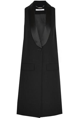 vest black wool satin jacket