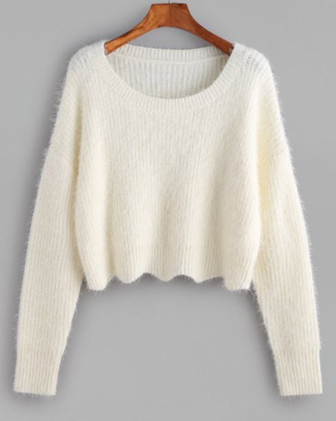 Sweater: girly, girl, girly wishlist, fur, white, cropped, crop ...