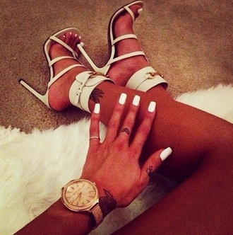 my daily style sandals shoes jewels fashion white high heels high heels outfit