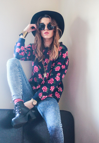 laughing in the purple rain blogger sweater hat floral skinny jeans platform lace up boots