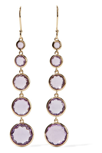 rock candy earrings gold lilac jewels