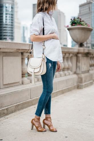 see anna jane blogger shirt jeans skinny jeans button up white bag shoulder bag lace up heels