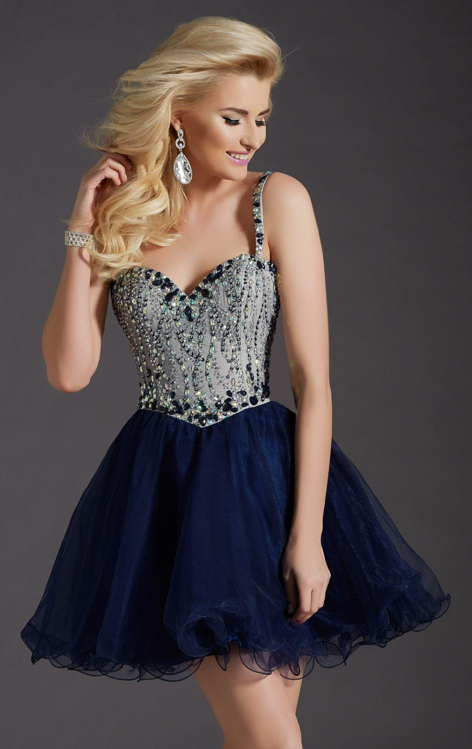 2016 Sexy Navy Blue Nude Homecoming Dresses Lace Up Back ...
