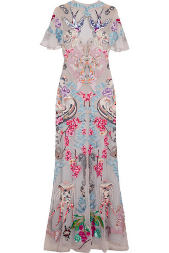 gown long embroidered embellished dress
