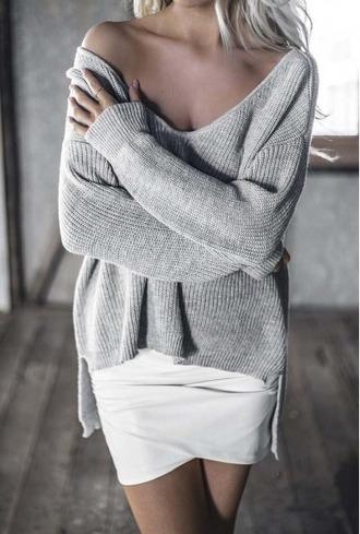 sweater girl girly girly wishlist grey grey sweater knit knitwear knitted sweater chunky sweater off the shoulder off the shoulder sweater