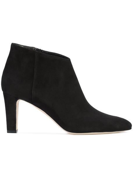 Manolo Blahnik women ankle boots leather suede black shoes