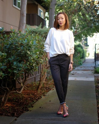 monkeyshines blogger sweater printed pants polka dots stilettos pants shoes polka dot pants white sweater office outfits multicolor pumps high heel pumps fall outfits