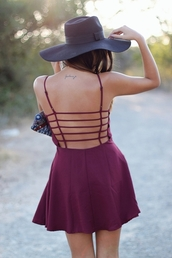 dress,red,burgundy dress,cut-out dress,cool back,strappy dress,cage back,pretty,dress summer
