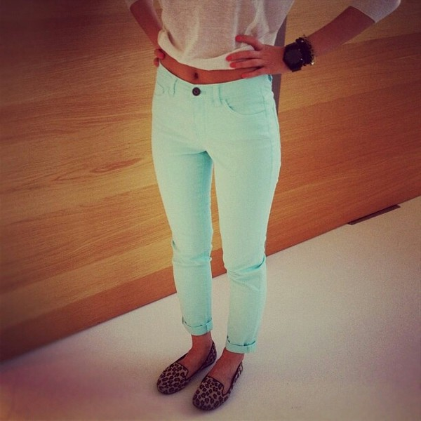 shoes pants jeans green summer bright