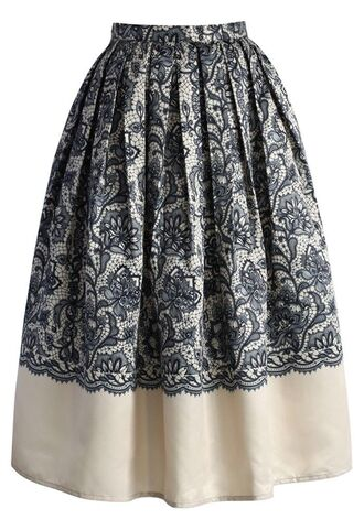 www.ustrendy.com pleated skirt midi skirt beige skirt beige and lace print skirt black lace print lined skirt