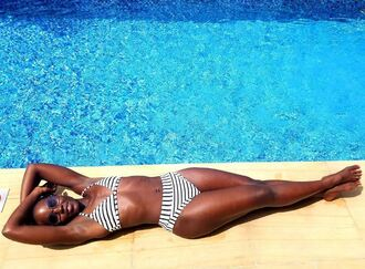 swimwear bikini bikini top bikini bottoms stripes striped bikini summer instagram lupita nyong'o