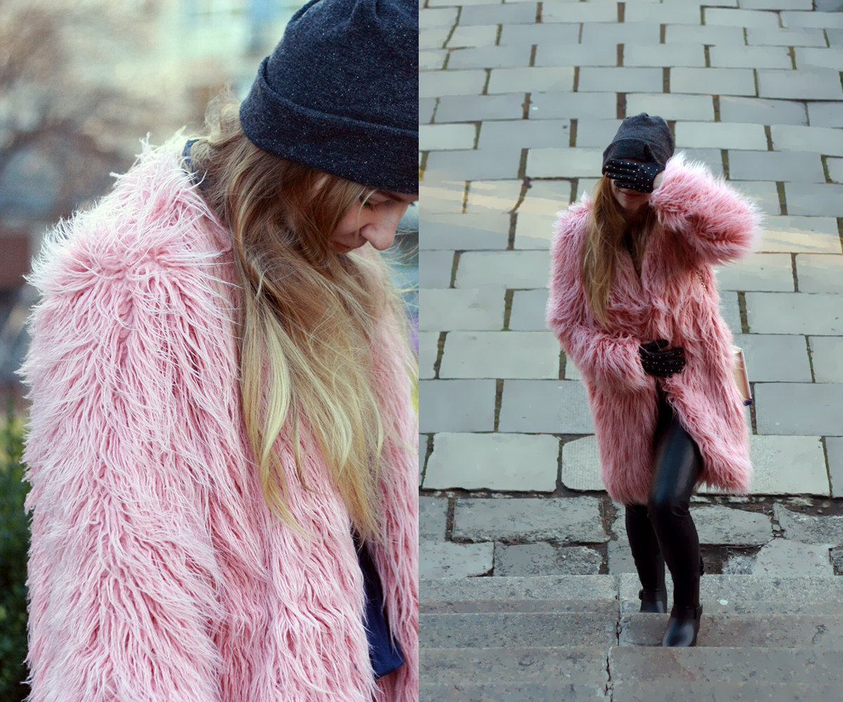 fur coat / powder pink alpaca coat / rose quartz coat / shaggy fur ...