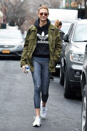 jacket,sweater,workout,white shoes,karlie kloss,celeb workout looks,leggings,grey leggings,adidas,adidas shoes,adidas sweater,celebrity style,celebrity,parka,sunglasses,mirrored sunglasses,khaki,gym clothes,Celeb Gym Clothes,karlie kloss gym clothes