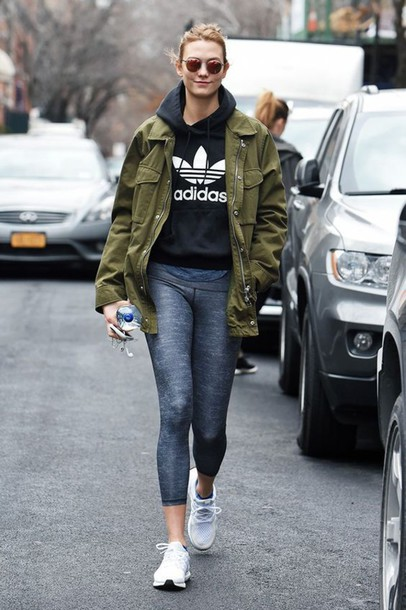 Jacket Sweater Workout White Shoes Karlie Kloss Celeb