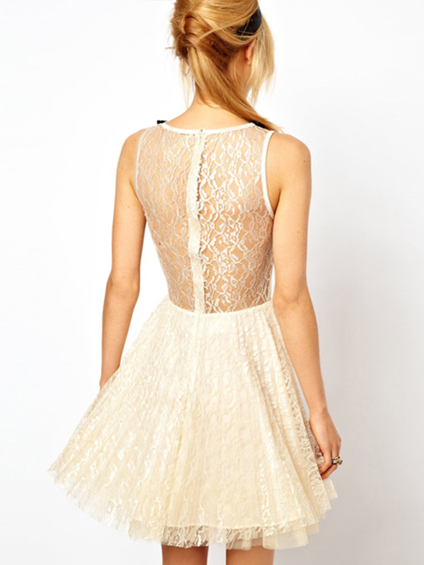 White/Black Vintage Lace Flared Mini Dress : KissChic.com