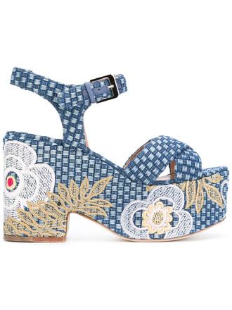 women sandals platform sandals leather cotton blue shoes