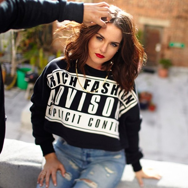 sweater rich fashion jojo fletcher parental advisory explicit content cropped sweater dope black sweatshirt oversized sweater crewneck crewneck sweater black sweater swag tumblr girl explicit parental advisory explicit content white black and white coat