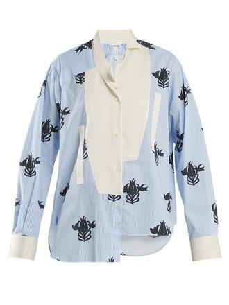 shirt floral cotton print blue top