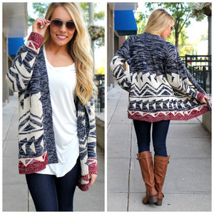 tribal pattern aztec cardigan top navy burgundy fall outfits cute clothes knitwear blonde oversized