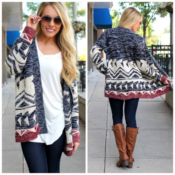 Cardigan tribal pattern knit cardi burgundy navy aztec fall cardigan tribal pattern knit cardi burgundy navy aztec fall outfits fall outfits blonde hair fall outfits dt1010fo