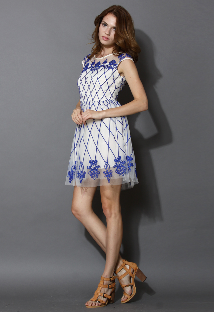 Baroque Fantasy Blue Embossment Mesh Dress - Retro, Indie and Unique Fashion
