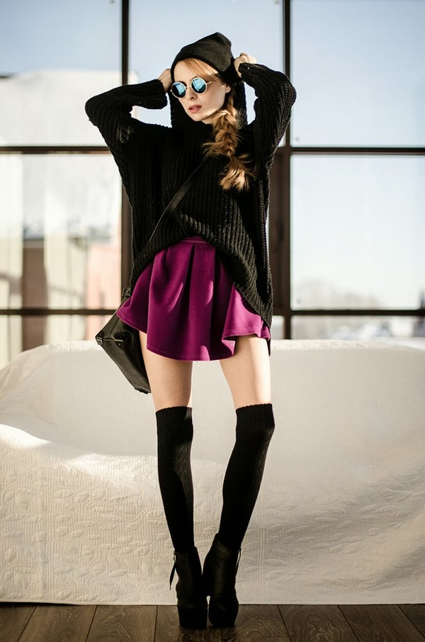 shirt purple skirt clothes top fashion velvet sunglasses