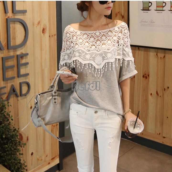 Fashion Women Blouse Batwing Hollow Lace Crew Neck Tops Cotton T Shirt Grey BF00 | eBay