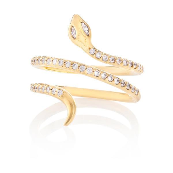 Julia Failey Gold White Sapphire Snake Ring - Polyvore