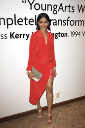 dress,red dress,frieda pinto,sandals,cocktail dress,shoes