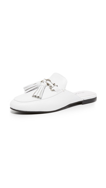 tassel mules silver white shoes