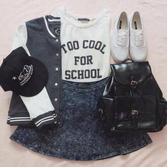 blouse jean skirt bag backpack