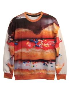 3d colorful doughnuts print sweatshirt