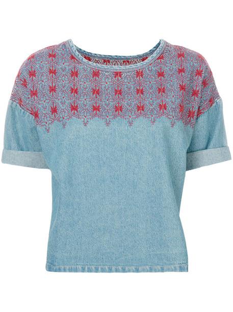 Current/Elliott - embroidered denim top - women - Cotton - 1, Blue, Cotton