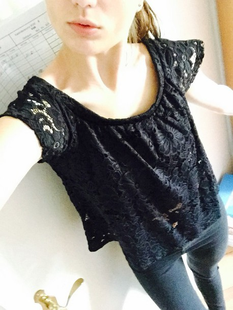 shirt black lacy top beautiful