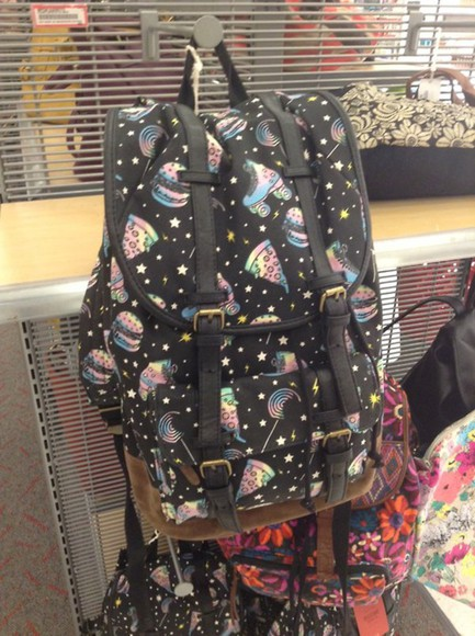 bag backpack space pizza roller skate burgers candy stars rainbow junk food
