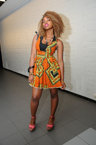 orange multicolor african dresses african print african american