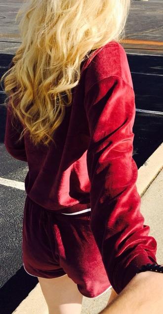 sweater matching set burgundy fall colors back to school shorts maroon/burgundy loren beech velvet