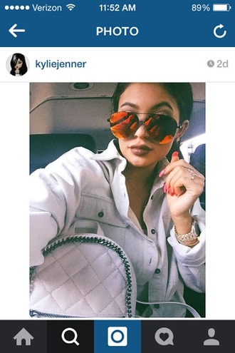 sunglasses kylie jenner red orange mirrored sunglasses jewels
