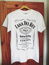 shirt,lana del rey,born to die paradise edition,t-shirt,jack daniel's,white t-shirt,black and white,short sleeve