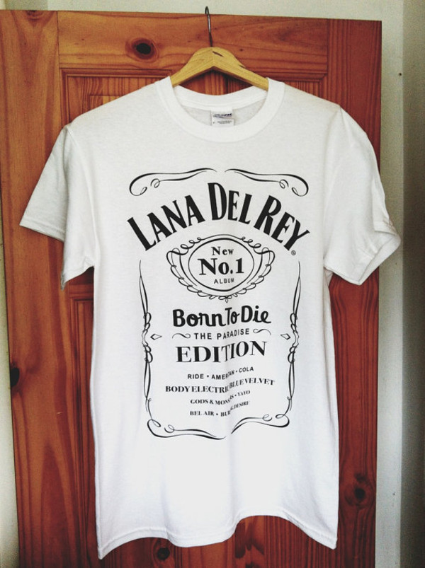 shirt lana del rey born to die paradise edition t-shirt jack daniel's white t-shirt black and white short sleeve