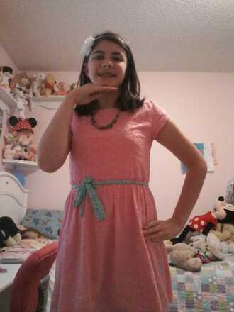 dress pink dress green belt bow necklace