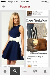 dress,blue,navy,bow,white