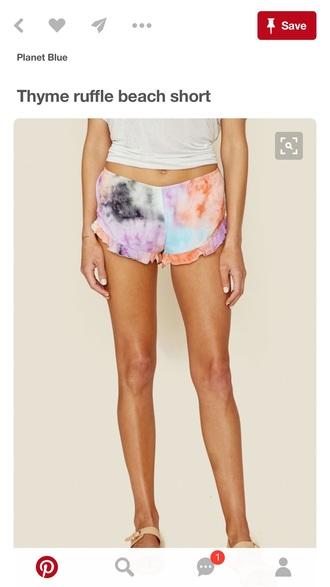 shorts tie dye multicolor summer shorts
