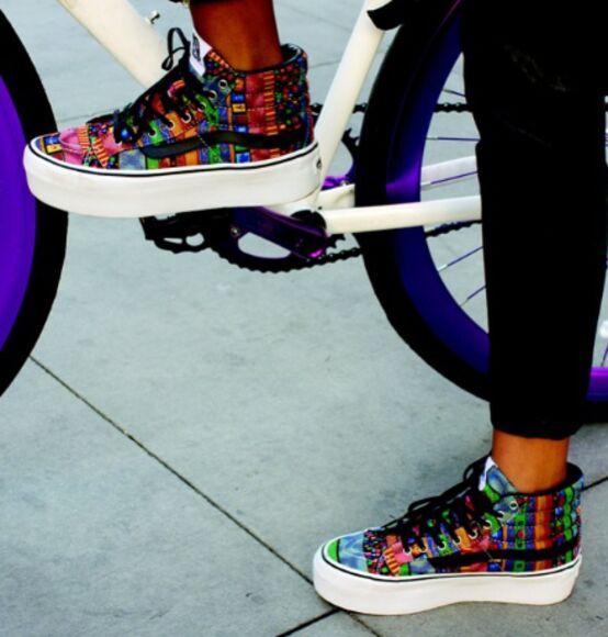 colorful multicolor vans sneakers high sneaker vans girls bike girl